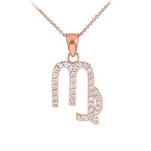 Collier Femme Pendentif 14 Ct Or Rose Vierge Zodiaque Signe Diamant (Livré avec une 45cm Chaîne)