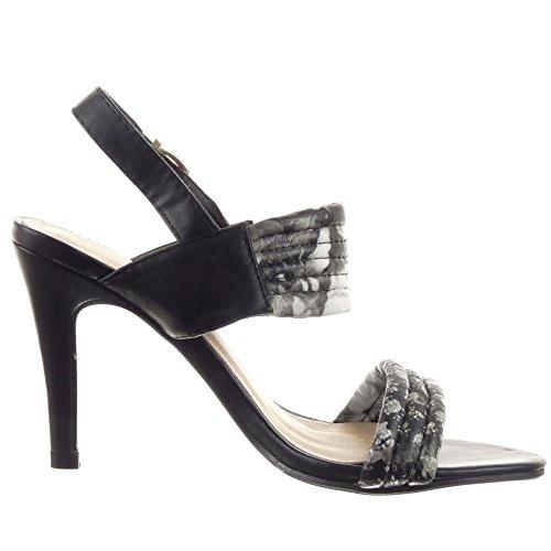 Sopily - Scarpe da Moda scarpe decollete Stiletto alla caviglia donna fiori Lines fibbia Tacco Stiletto tacco alto 9.5 CM - Nero