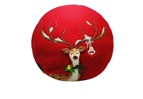 Ysting Felted Hat Beret Christmas Deer Handmade French Beret Hat Fashion Hat Felted Wool For Women Kawaii Cute Valentines Doe Anima (Red)