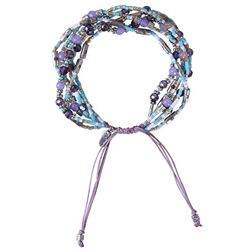 - KELITCH Crystal Purple Agate Seed Beaded Cluster Multi-Strand Bracelet Rope - Purple