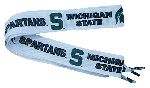 Divine Creations NCAA Michigan State Spartans Shoelaces, Forest Green/White, One Size