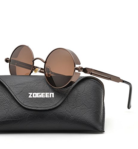 ZOGEEN Polarized Steampunk Round Sunglasses for Men Women Mirrored Lens Metal Frame S2671 - Round Sunglasses Metal Frame