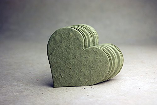 Large Green #14s Recycled Fiber Heart Shape Seed Embedded Cotton Handmade Paper Tags