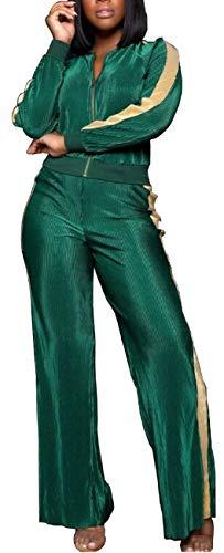 Women Wide Leg Sweatsuit Velvet Long Sleeve Zipper Active Top Stripes High Waist Stretchable Long Pants Sports 2 Pieces Outfits Green