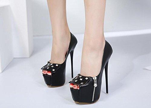 aiguille fermeture semelles le hiver décontractée simili pour boucle glissière tenue talon en Femmes talons chaussures à cuir nouveauté confort partie été légères Black mariage 61xpqU7q