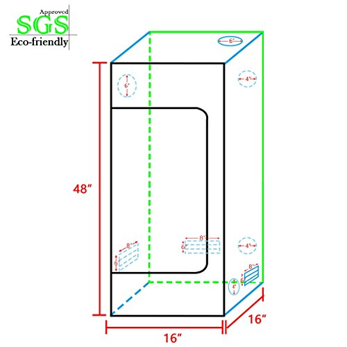 """41zzWwiZczL - Quictent SGS Approved Eco-friendly 16""""x16""""x48"""" Reflective Mylar Hydroponic Grow Tent with Heavy Duty Anti-burst Zipper and waterproof Floor Tray for Indoor Plant Growing"""