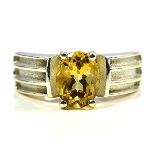 Gemsonclick Natural Citrine Oval Shape Ring 925 Sterling Silver GOMMSR-313