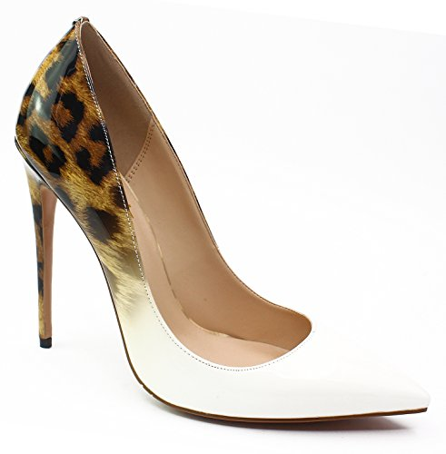 Guoar Donna Stiletto Scarpe Di Grandi Dimensioni Scarpe A Punta Da Donna Pompe Solide Per Il Posto Di Lavoro Vestito Partito Gradiente Bianco Leopardo