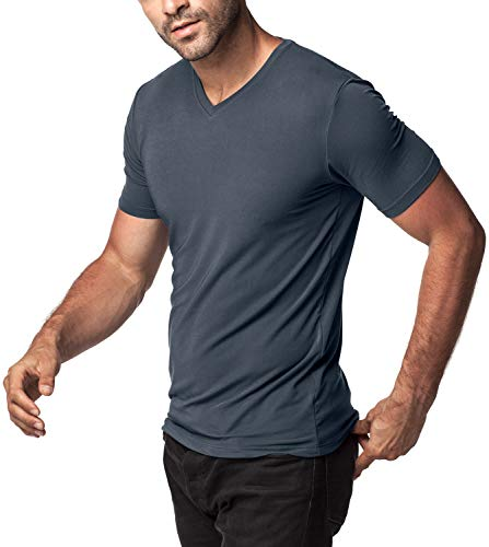 "LAPASA Men's Short Sleeve Modal Undershirts V-Neck T-Shirts Solid Plain Tees 2 Pack M08 (XL/Chest 44""-46"