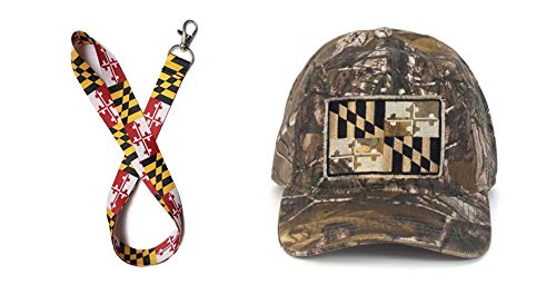 Maryland Flag RealTree Xtra Camo Adjustable Hat (One Size fits Most) and Lanyard (Maryland Camo Hat)