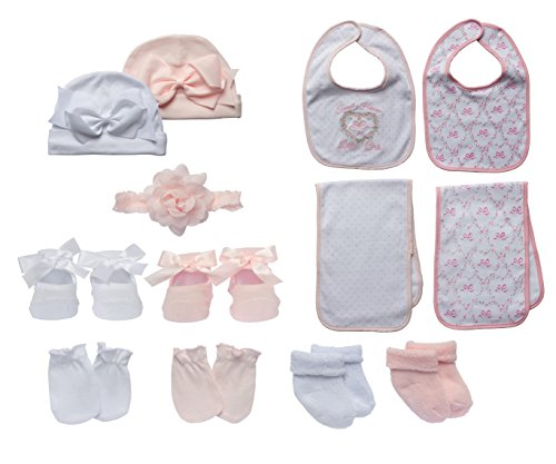 White Rag Boxed (Little Me 13 Piece Take Me Home Gift Set for Newborn Baby Girls)