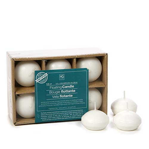 Hosley Set of 12, White Unscented Water Floating Mini Candle Discs- 1.6' Diameter. Ideal Gift for...