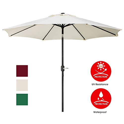Patio Umbrella Frames (UHINOOS Patio Umbrella, 9 Ft Durable Alloy and Ribs outdoor umbrella,  Made of 100% durable polyester fabric, fade resistant,Water proof patio table umbrella,Ivory)