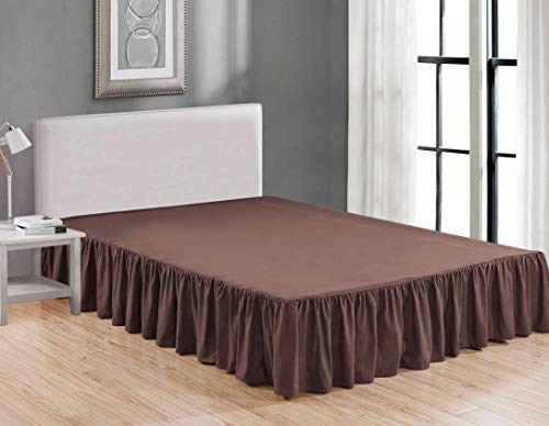 Sheets & Beyond Wrap Around Solid Luxury Hotel Quality Fabric Bedroom Dust Ruffle Wrinkle and Fade Resistant Gathered Bed Skirt 14 Inch Drop (Twin, ()