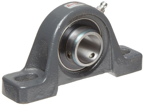 Browning VPS-223 Pillow Block Ball Bearing, 2 Bolt, Setscrew Lock, Contact and Flinger Seal, Cast Iron, Inch, 1-7/16