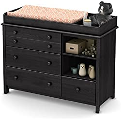 South Shore Convertible Changing Table with Storage Drawers and Removable Changing Station, Gray Oak