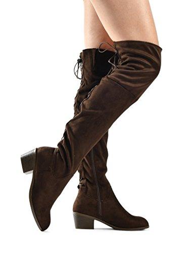 Lusthave Botas Sobre Las Rodillas Para Mujer Apiladas Tacón Bajo Western Kate Lace Up Botas De AlHombresdra Hasta La Rodilla Bota Alta Marrón