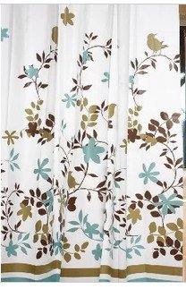 Garden Floral Shower Curtain With Hooks, 71u0026quot; X 71u0026quot;   Blue/Brown
