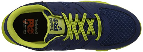 Timberland Pro Mens Powertrain Alloy-Toe Eh Industrial Shoe Navy/High Vis Green Microfiber and Textile
