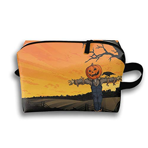PANQJN Cosmetic Bags Halloween Scarecrow Portable Travel Toiletry Pouch Clutch Bag with Zipper