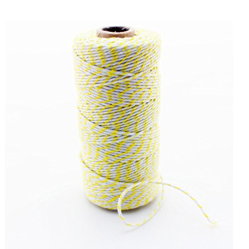 IPALMAY 100m Cotton Bakers Twine for Garden Twine or Gift Wrapping, Spool 3-Ply, Yellow and White by Ipalmay