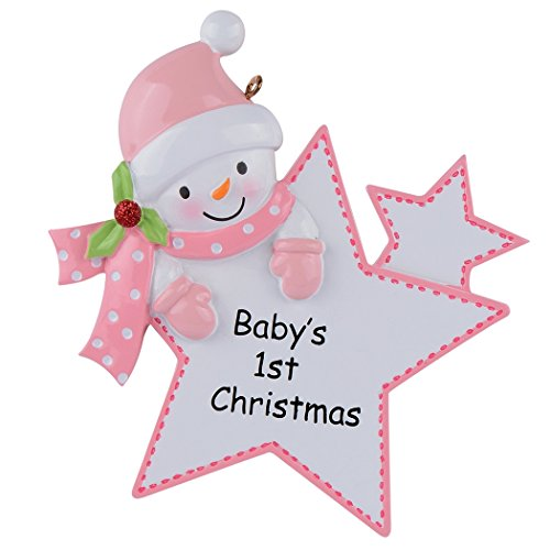 Baby's 1st Christmas Ornament Baby Boy/Girl Star Christmas Personalized Gift(Pink)