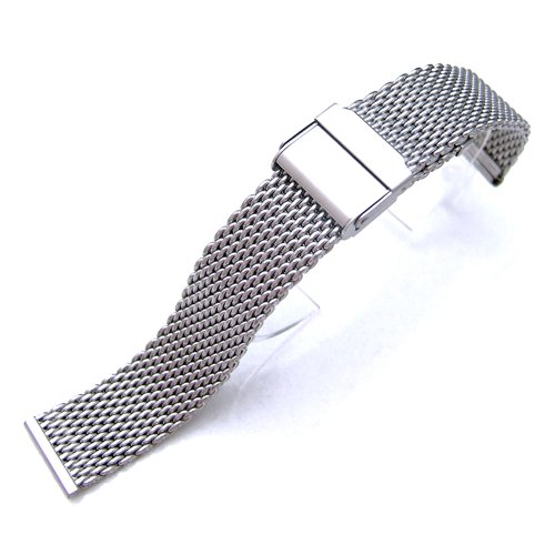 18mm Brushed Stainless Steel Wire Mesh Band Double Flip Interlock Clasp by 18mm Mesh Band