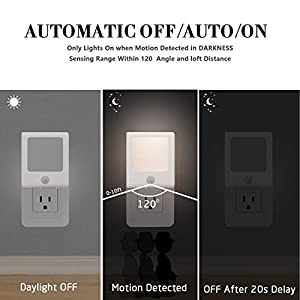 [3Pack] Vintar Motion Sensor Dimmable LED Night Light, Plug-in Nightlight with Auto Dusk to Dawn Sensor, Adjustable Brightness Warm White Lights for Hallway, Kids Room, Kitchen, Stairway, Bathroom