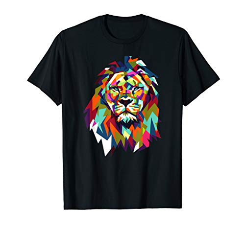 Cool Trendy Lion Geometric African Animal Leo Cat Gift Shirt ()