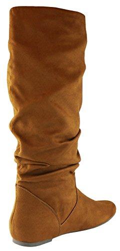Cambridge Select Damen Slouchy Round Toe Kniehoher, flacher Stiefel Dunkle Bräune Imsu