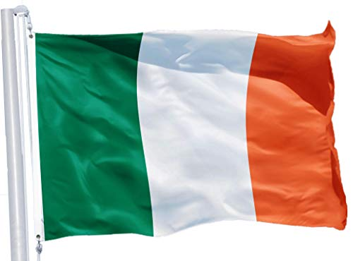 G128 – Irish Flag | 3x5 feet | Printed 150D – Indoor/Outdoor, Quality Polyester, Brass Grommets, Much Thicker More Durable Than 100D 75D Polyester -
