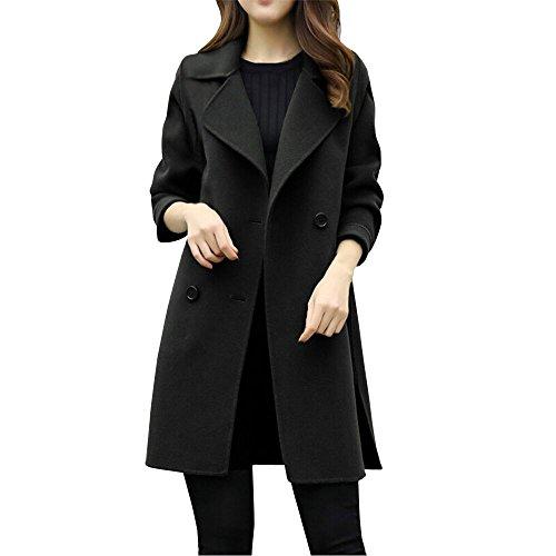 Womens Autumn Winter Woolen Overcoat Jacket AmyDong Casual Outerwear Parka Cardigan Slim Coat Tops (Black,L) -