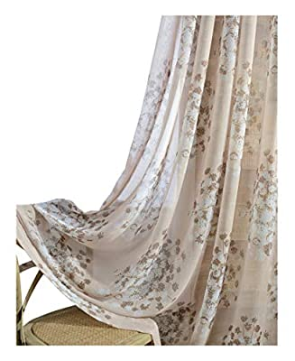Natural Pastoral Style Dandelion Printed Sheer Curtains Rod Pocket Top Semi Transparent Window Gauze Treatments for Living Dining Room