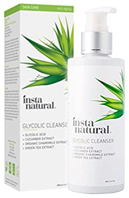 Glycolic Facial Cleanser - Anti Wrinkle, Fine Line, Age Spot & Hyperpigmentation Face Wash - Clear Dead Skin & Pores - With Glycolic Acid, Organic Extract Blend & Arginine - InstaNatural - 6.7 oz by InstaNatural