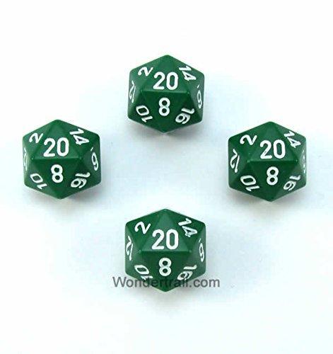 輝く高品質な wcxpq2005e4グリーン不透明Dice withホワイト番号d20 Aprox 16 Chessex mm ( Aprox 16 5/ 8in )パックof 4 Dice Chessex B00VWWWP9E, INVENTER:a7727062 --- egreensolutions.ca