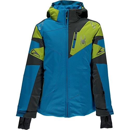 (Spyder Boys Leader Jacket, Size 10, Electric Blue/Polar/Sulfur)