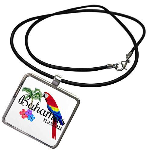 3dRose Macdonald Creative Studios – Islands - Bahamas Nassau Caribbean Souvenir with Tropical Parrot and Flowers. - Necklace with Rectangle Pendant (ncl_299249_1)