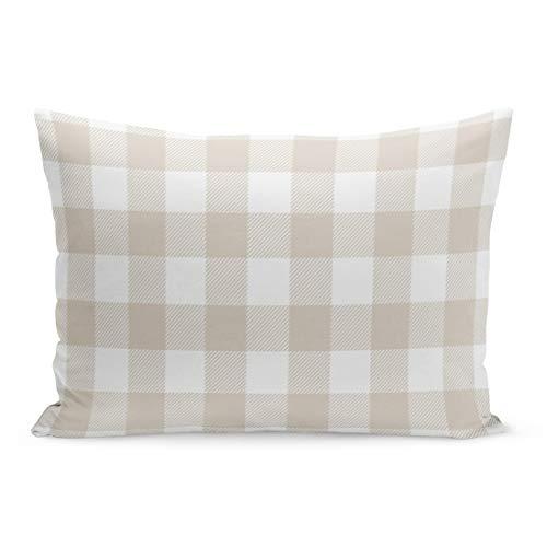 Aikul Throw Pillow Covers Stripes Beige Preppy Buffalo Check Plaid Modern Pillow Case Cushion Cover Lumbar Pillowcase Decoration for Couch Sofa Bed Car,20 x 26 inchs ()