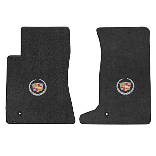 2012 Wreath - 2pc Ebony Black Velourtex Front Floor Mat Set w Crest & Wreath Logo for 2011-2015 Cadillac CTS-V Coupe