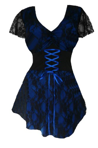 Dare to Wear Victorian Gothic Boho Women's Plus Size Sweetheart Corset Top Blueberry 1x