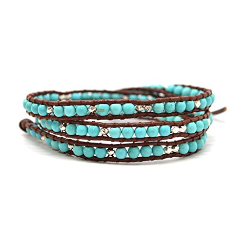Trendy Turquoise and Metallic Beaded Leather Wrap Bohemian Style Hipster Friendship Bracelet (23 - Trendy Hipster