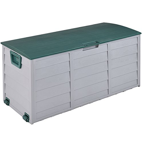 Giantex Deck Storage Box Outdoor Patio Garage Shed Backyard Garden Tool Box Container 70 Gallon (Outdoor Waterproof Storage Box)