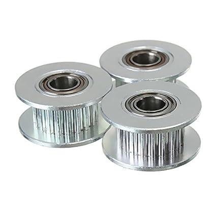 funnytoday 3pcs/lot GT2 Correa de distribución Polea (aluminio 20T 20 dientes) de