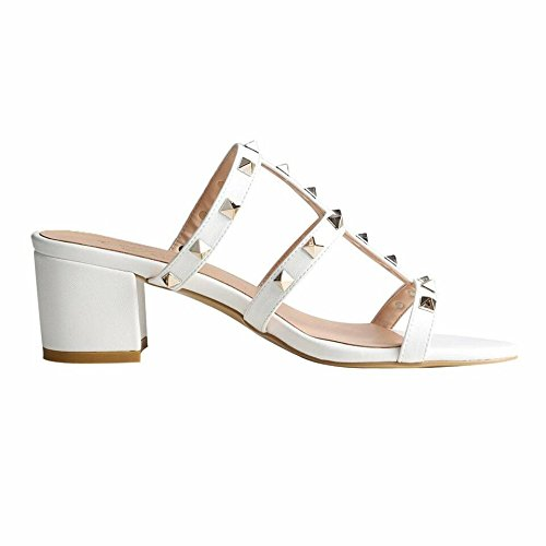 Block Mules Jushee White Rivets Heels Pu Slip Slippers Shoes Women's On Hollow Sandals Studded Out vxrOtqvwH
