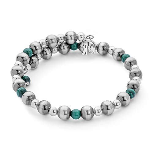 - American West Sterling Silver and Green Malachite Beaded Single Wrap Bracelet