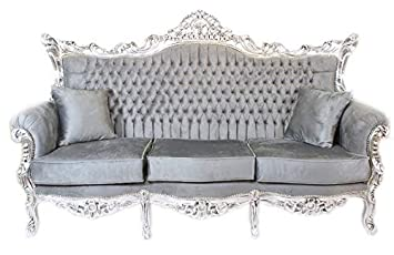 Casa Padrino Barock 3er Sofa Master Grau Silber Mod1 Wohnzimmer