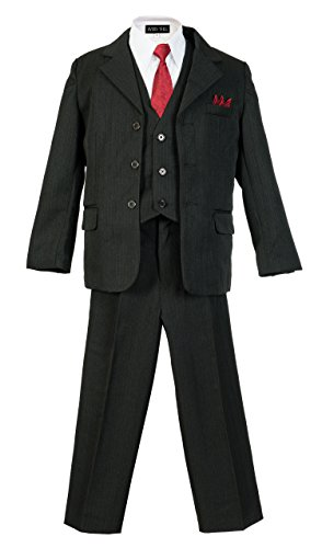 Boys Pinstripe Suit Set with Matching Tie BK 8 Black (Ties Pinstripe Suits)