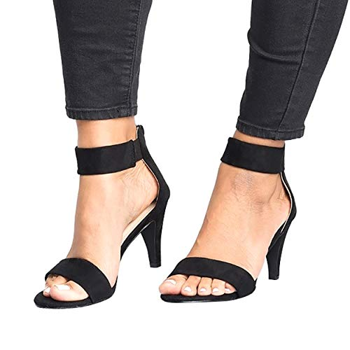 SNIDEL Strappy Sandals for Women Open Toe Sexy High Heels Summer Pumps Wedding Party Dress Shoes Black 8.5 B (M) ()
