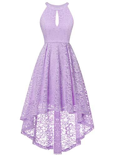 Lavender Fairy Dress - FAIRY COUPLE Women's Vintage Floral Lace Hi-Lo Sleeveless Cocktail Formal Swing Dress 2XL Lavender