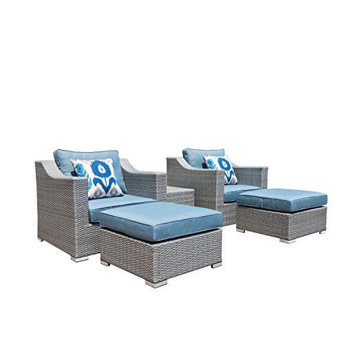 Supernova 5 Pieces Grey Outdoor All-weather Hand-woven Rattan Wicker Mediterranean-style Furniture Sofa Set with Blue Cushions